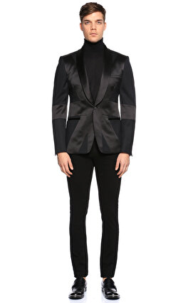 Alexander McQueen Yaka Detaylı Siyah Ceket