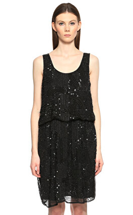 SH İşleme Detaylı Siyah Elbise