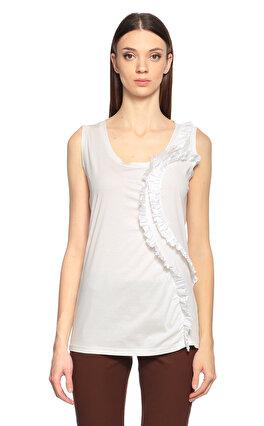 Jil Sander Fırfır Detaylı Kolsuz Beyaz Bluz