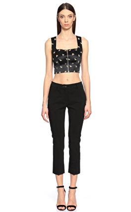 Karen Millen Çiçek Desenli Siyah Bluz