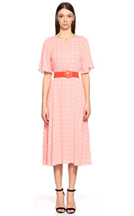 Juicy Couture Puantiyeli Pembe Diz Altı Elbise