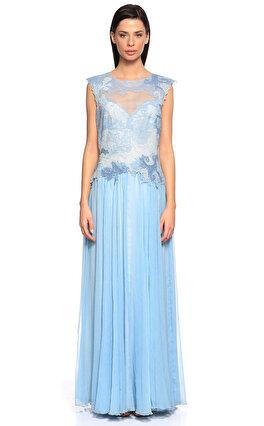 Tadashi İşleme Detaylı Uzun Mavi Gece Elbisesi