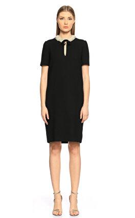Lanvin Yakası İşleme Detaylı Siyah Elbise