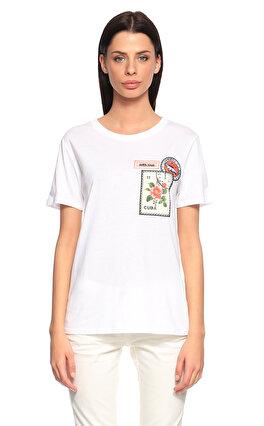 Sandro İşleme Detaylı Beyaz T-Shirt