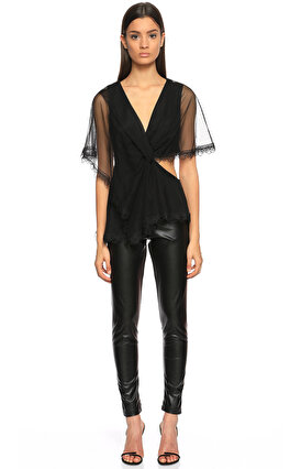 BCBG MAX AZRIA Dekolte Detaylı V Yaka Siyah Bluz