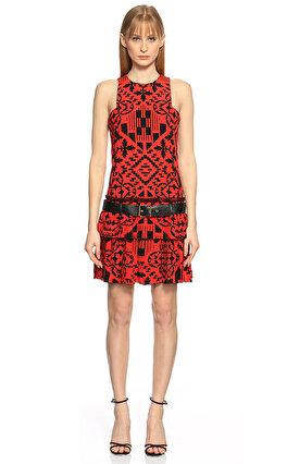 Alexander McQueen Kemerli Kırmızı-Siyah Elbise