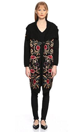 Silvian Heach İşleme Detaylı Siyah Palto