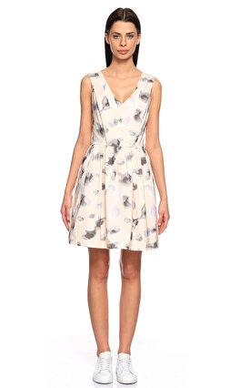 Karl Lagerfeld Karma Desen Pudra Rengi Elbise