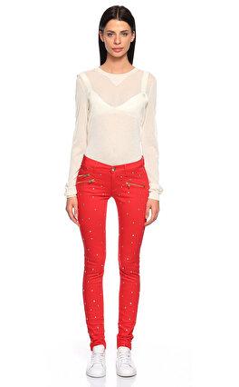 Juicy Couture İşleme Detaylı Skinny Kırmızı Jean Pantolon