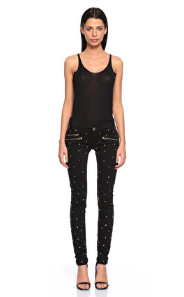 Juicy Couture İşleme Detaylı Skinny Siyah Jean Pantolon
