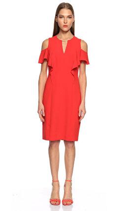 Elie Tahari Fırfır Detaylı Kırmızı Elbise