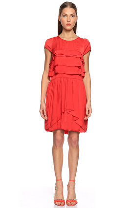Sandro Fırfırlı Kırmızı Elbise