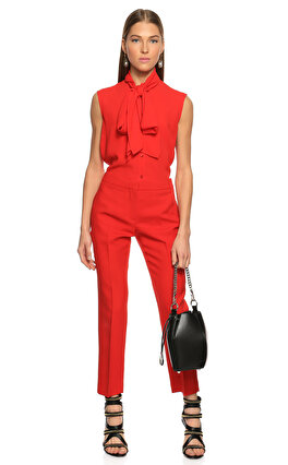 Alexander McQueen Kırmızı Fular Yaka Bluz