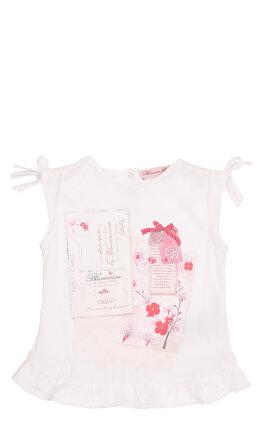 Miss Blumarine Kız Bebek Baskılı Beyaz T-Shirt