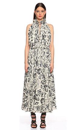 Alexander McQueen Uzun Midi Siyah-Beyaz Elbise