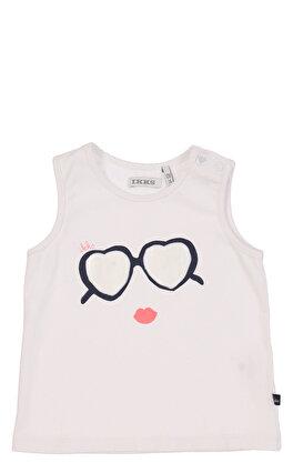 IKKS Baskı Desen Kolsuz Beyaz Kız Bebek T-Shirt