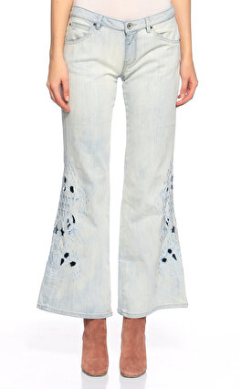 Guess İşleme Detaylı İspanyol Paça Mavi Pantolon