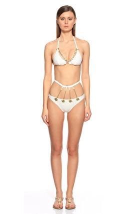 Agent Provocateur Şeritli Beyaz-Gold Bikini Üstü