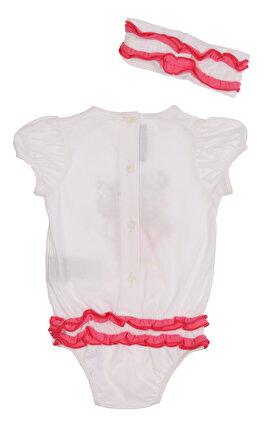 Miss Blumarine Kız Bebek Baskı Desen Çıtçıtlı Beyaz-Pembe Set