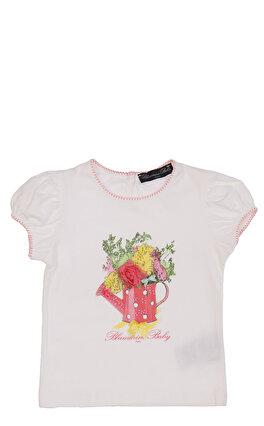 Miss Blumarine Kız Bebek Baskı Desen Beyaz T-Shirt