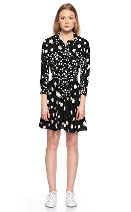 Maje Çiçek Desenli Siyah-Beyaz Elbise