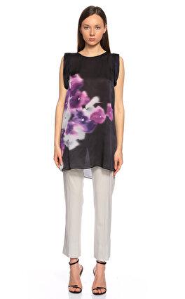 Armani Collezioni Çiçek Desenli Siyah Bluz