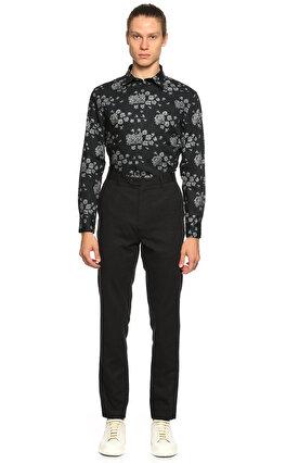 John Varvatos Çiçek Desenli Siyah Gömlek