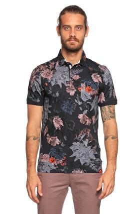Ted Baker Polo Çiçek Desenli Lacivert T-Shirt