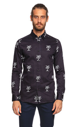 Ted Baker Palmiye Desenli Lacivert Gömlek
