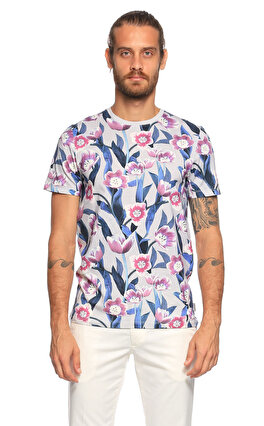 Ted Baker Çiçek Desenli Gri T-Shirt