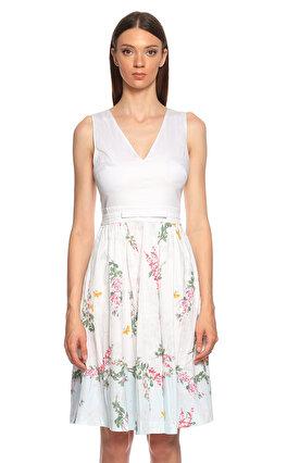 Ted Baker Çiçek Desenli Beyaz Elbise