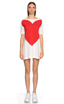 Love Moschino Kalp Desenli Beyaz Kırmızı Triko