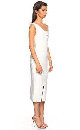 Antonio Berardi İşleme Detaylı Midi Beyaz Elbise