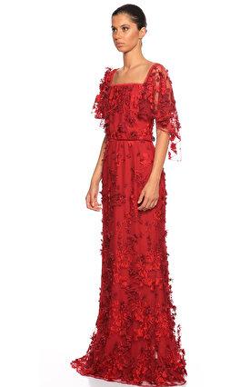 Marchesa Notte İşleme Detaylı Uzun Bordo Gece Elbisesi