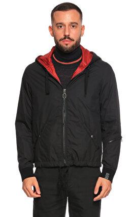 Lanvin Çift Taraflı Kapüşonlu Siyah Kırmızı Mont