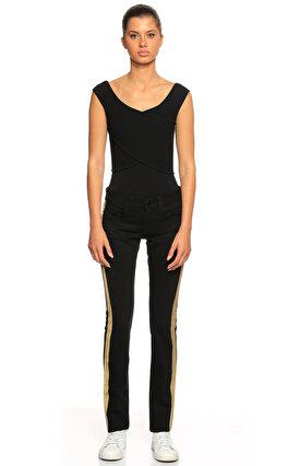 Ralph Lauren Black Label Şeritli Siyah Gold Jean Pantolon