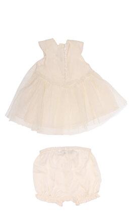 Baby Dior Kız Bebek Tül Detaylı Krem Elbise
