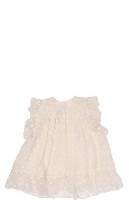 Baby Dior Kız Bebek Puantiyeli Krem Elbise