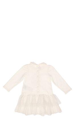 Miss Blumarine Kız Bebek Tül Detaylı Beyaz Elbise