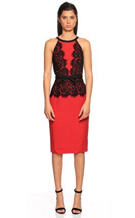 Michael Kors Collection Dantel İşlemeli Kırmızı Siyah Elbise