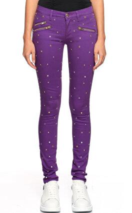 Juicy Couture Zımba Detaylı Skinny Mor Jean Pantolon