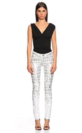 Karl Lagerfeld Desenli Gümüş Jean Pantolon