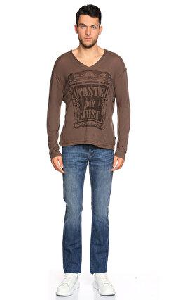 Just Cavalli V Yaka Uzun Kollu Kahverengi T-Shirt