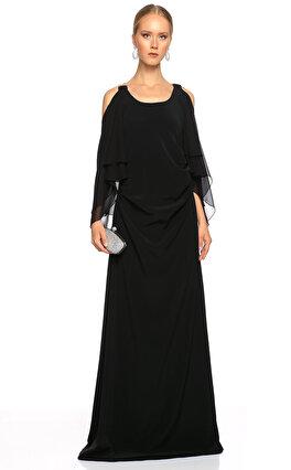 Lanvin İşleme Detaylı Uzun Siyah Gece Elbisesi