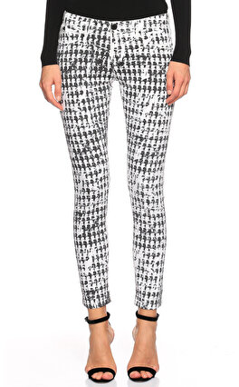 Karl Lagerfeld Baskı Desenli Siyah Beyaz Jean Pantolon