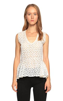 Maje Dantel Detaylı Beyaz Bluz