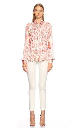 Just Cavalli Karma Desen Fırfır Detay Pembe Gömlek