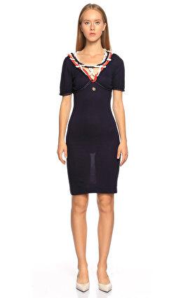 Just Cavalli Yakası İp Detaylı Kısa Kollu Lacivert Elbise