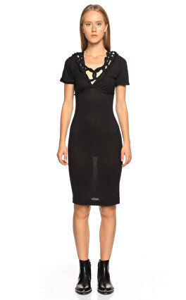 Just Cavalli Yakası İp Detaylı Kısa Kollu Siyah Elbise