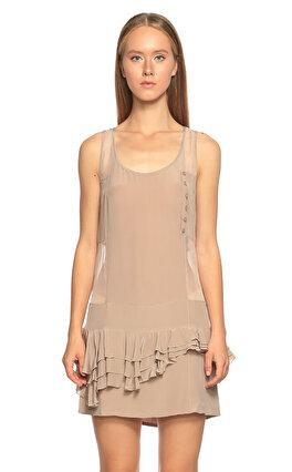 Just Cavalli Transparan Detaylı Fırfırlı Bej Rengi Elbise